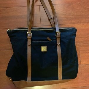 Ralph Lauren leather and canvas tote bag